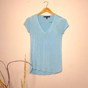 White House Black Market Light Blue V-Neck T-Shirt